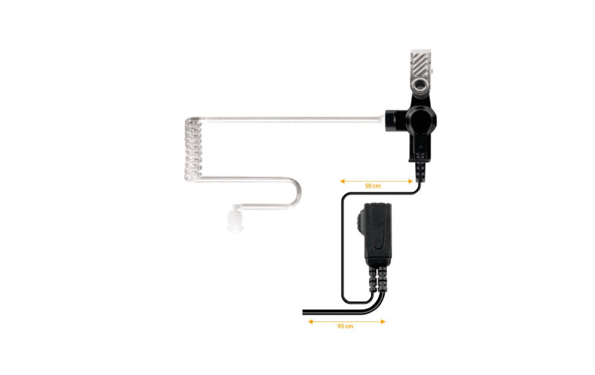 NAUZER PIN-39IC1. Micro-Auricular tubular con PTT especial para ambientes ruidosos, uso Militar, Seg