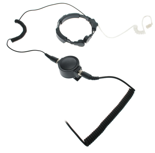 Nauzer PLX330-IC2. Professional throat activated microphone with large PTT button. For ICOM handhelds