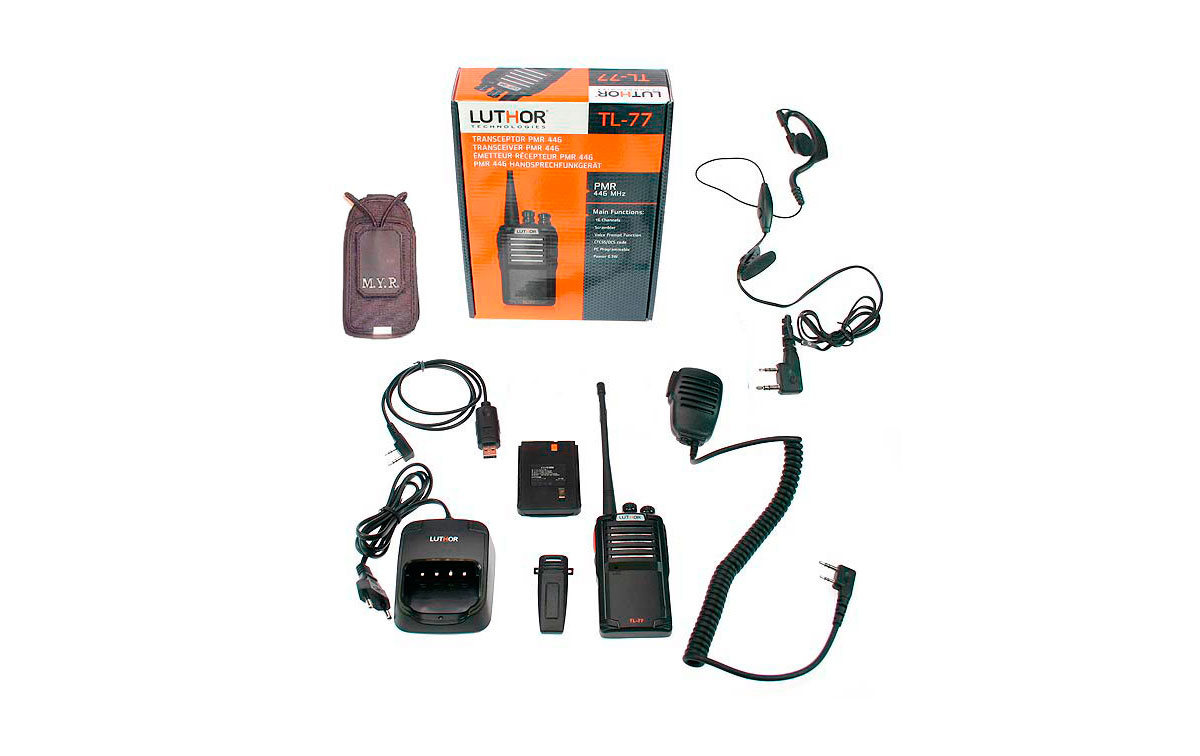 LUTHOR TL-77 PMR 446 KIT5 PROFESSIONAL WALKIE - UNLICENSED USE - FULL EQUIP: EARPHONE + LEATHER CASE + PROGRAMMING CABLE + MICROPHONE