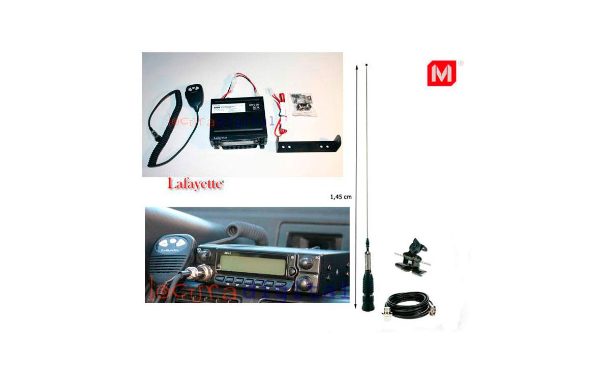 ZEUSBLACK KIT A. Emisora CB 27 Mhz. ZEUS BLACK + ANTENA BRAVO 150 + SOPORTE SP-100