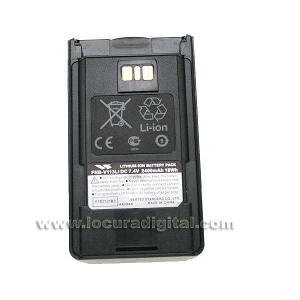 FNB-V-113 BATTERY LI VERTEX VX-454 Voltage 7.4 V, 2400 mAh capacity.