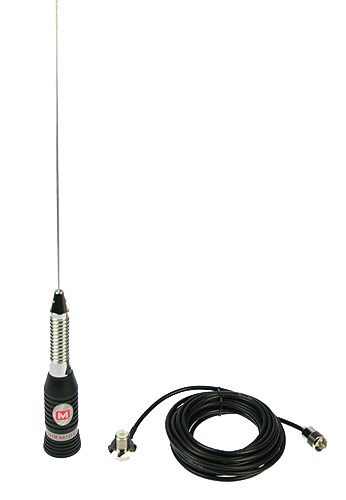 MIRMINDON BRAVO-150. CB 27 Mhz Antenna, 148 cm. With spring screw base + PL + PL Cable included 5.5 m, length 148cm antenna