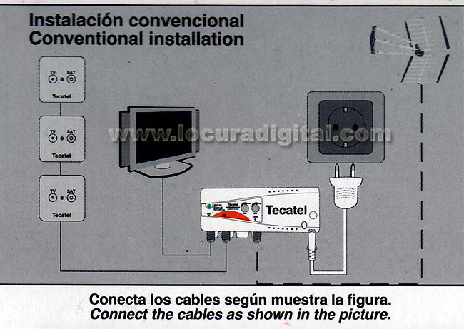 TECATEL AMPIN24AVU amplificateur interne VHF - UHF 2 sorties