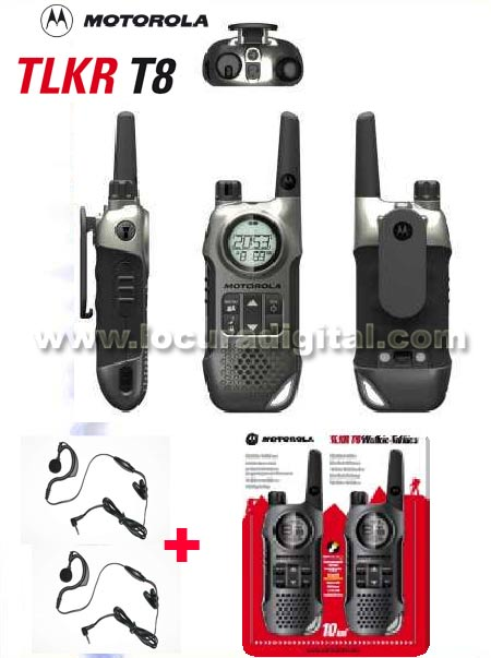 MOTOROLA TLKR T8, new model. WALKIE FREE USE, FREE USE WALKIE. ! NEW MODEL!. These small colorful radios are the essential accessory to make the most of everyday activities. Compatible Talkabout (T5022, T5412, T5422, T5522, T5532, T5622) and all models of PMR walkie free use.