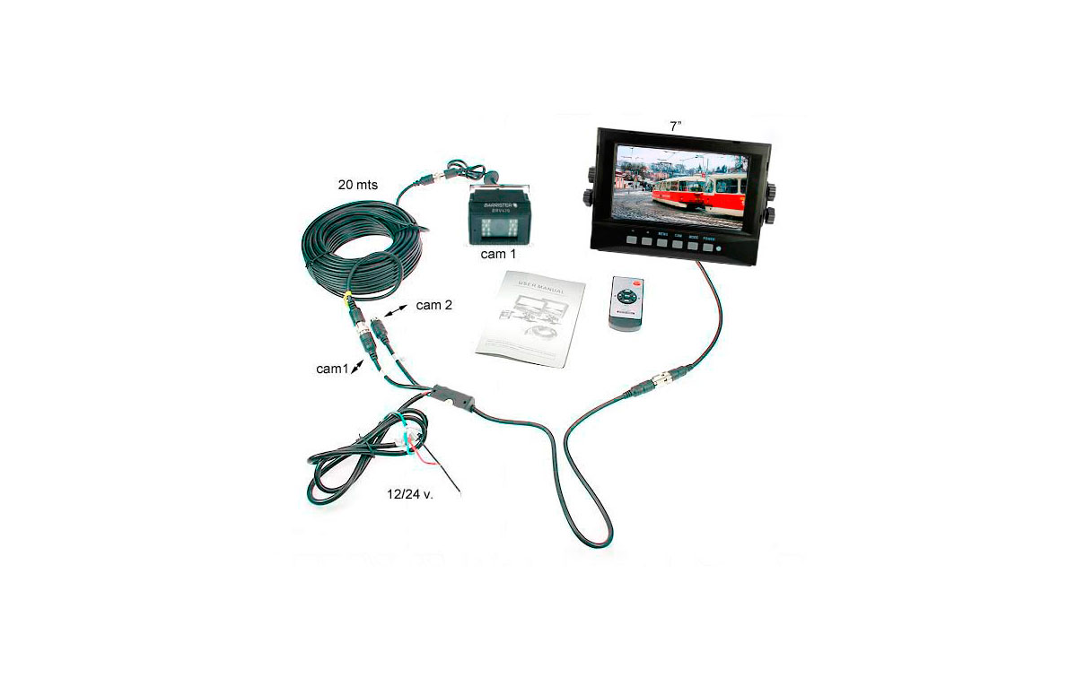 BRV-750WP-KIT1 BARRISTER MONITOR 7 PULGADAS WATERPROOF KIT DE CODICIONES EXTREMA Y CAMARA IP-68