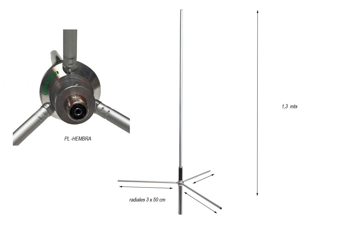 Antena TAGRA GP-144 5/8 VHF 136-174 Mhz.