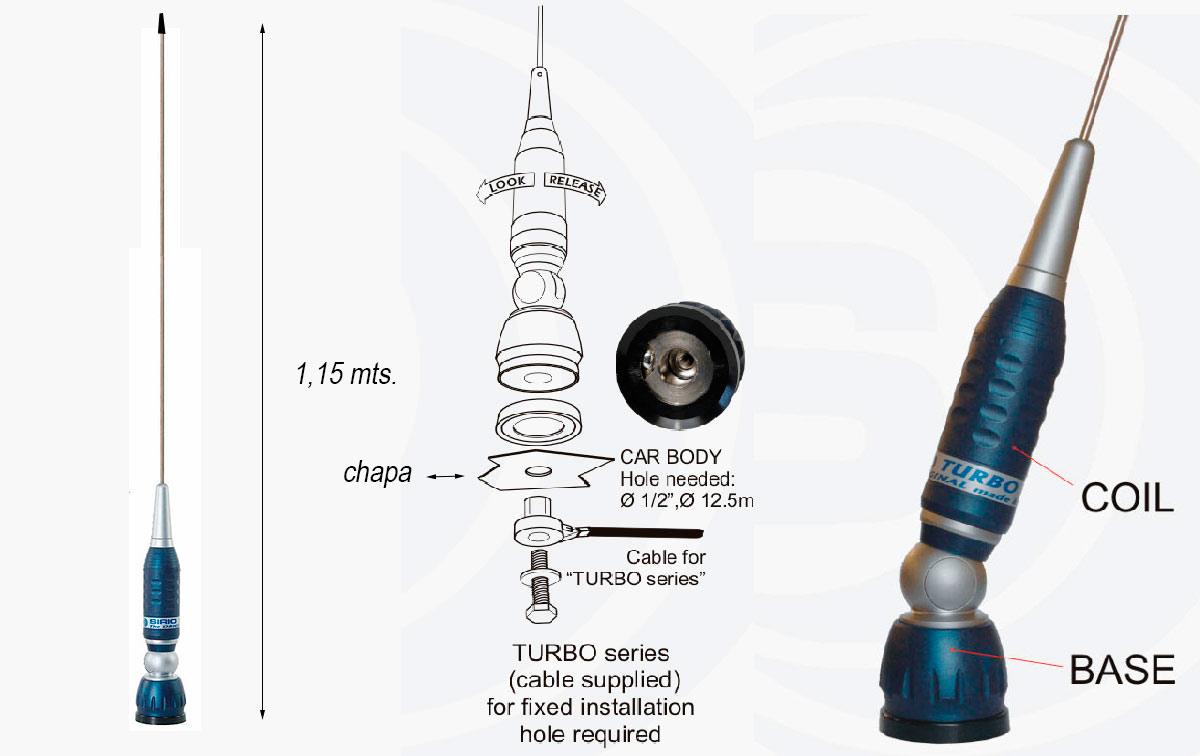 TURBO1000 BLUE LINE SIRIO ANTENA CB + 4 M RG58