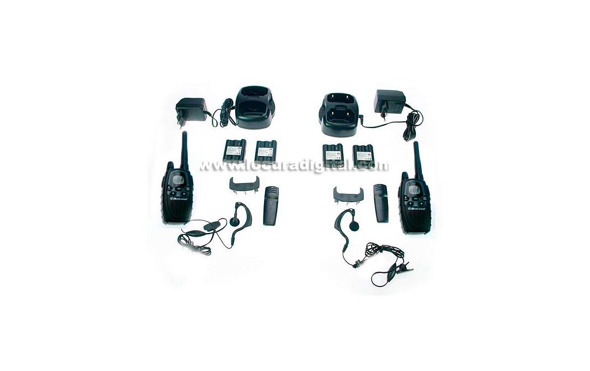 MIDLAND G7E XT KIT FORMADO: 2 walkies + 2 cargadores de sobremesa + 4 BATERIAS RECARGABLES + 2 pinga