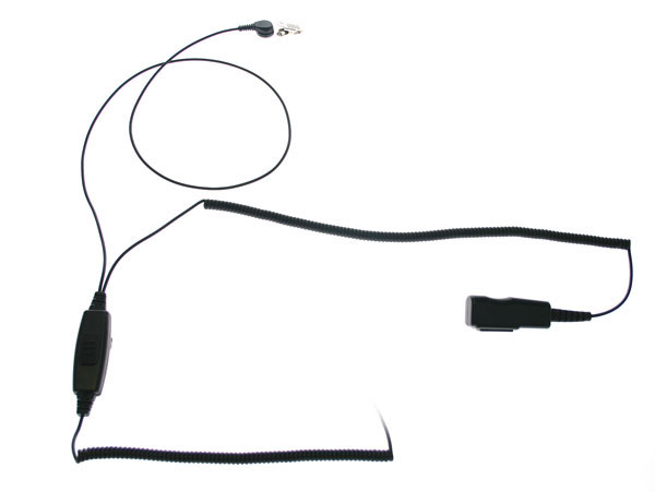 Nauzer PIN-MAT-IC2. High quality tubular micro-earphone with double PTT. For ICOM handhelds