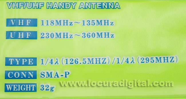 AB35HS COMET antena portatil para banda aerea 118-136 Mhz y 230 - 360 Mhz.