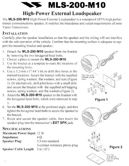 MLS200M10 HAUT-PARLEUR POUR FTM10