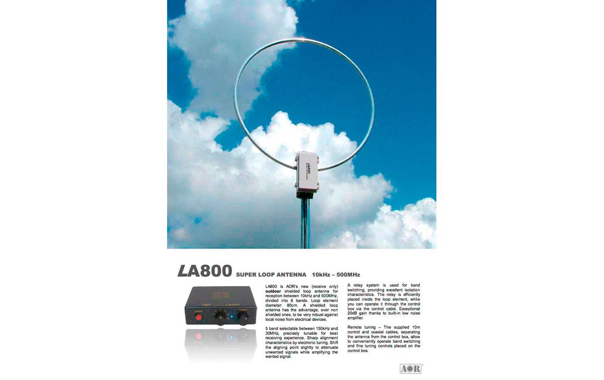 LA800 AOR antena super loop para recepci�n de 10 Khz. - 500 Mhz.