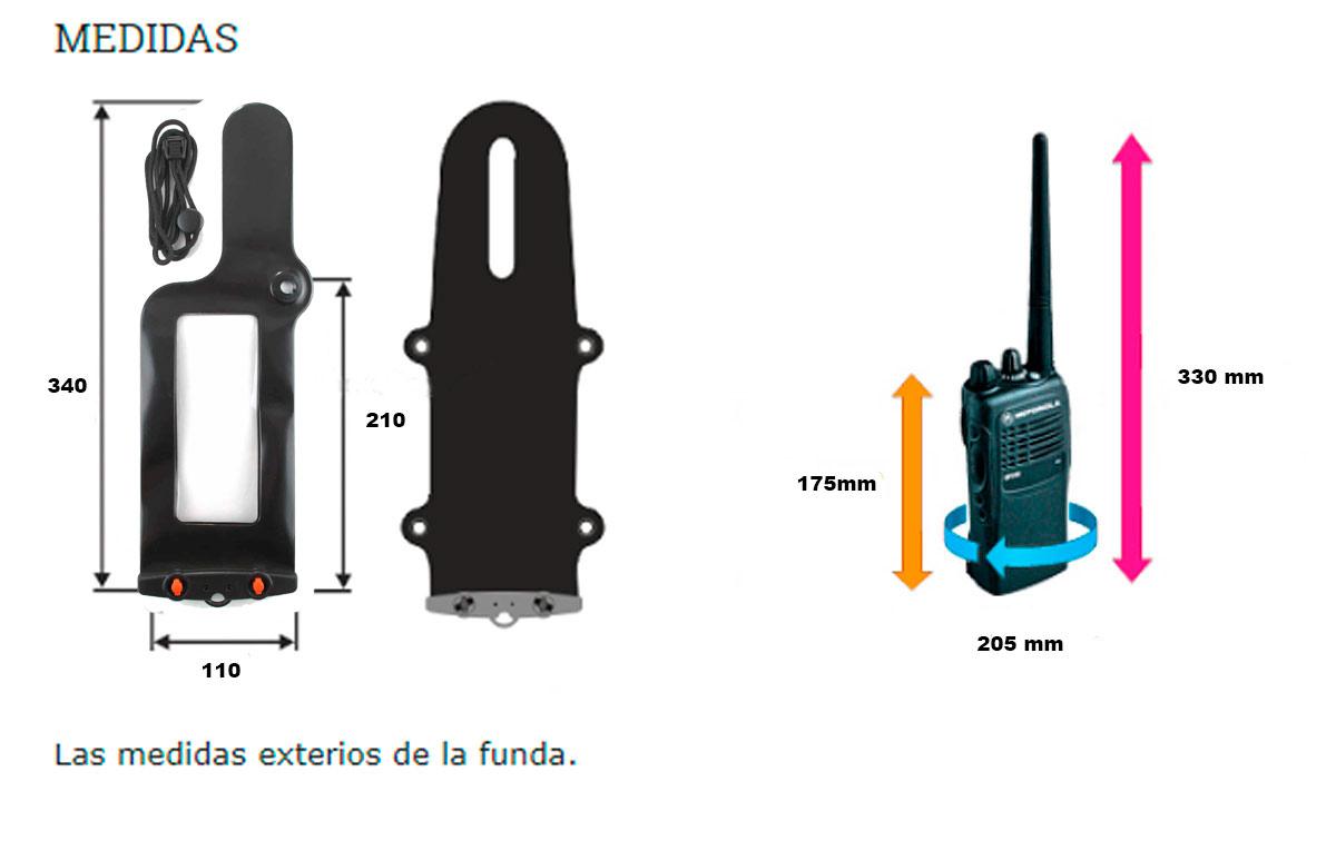 aq228 aquapac funda impermeable para walkie talkie medida media.