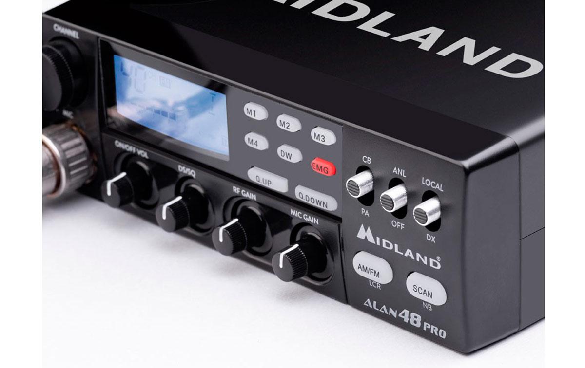 Midland ALAN 48 PRO Emisora 40 canales CB 27 Mhz. AM/FM 12/24 voltios.