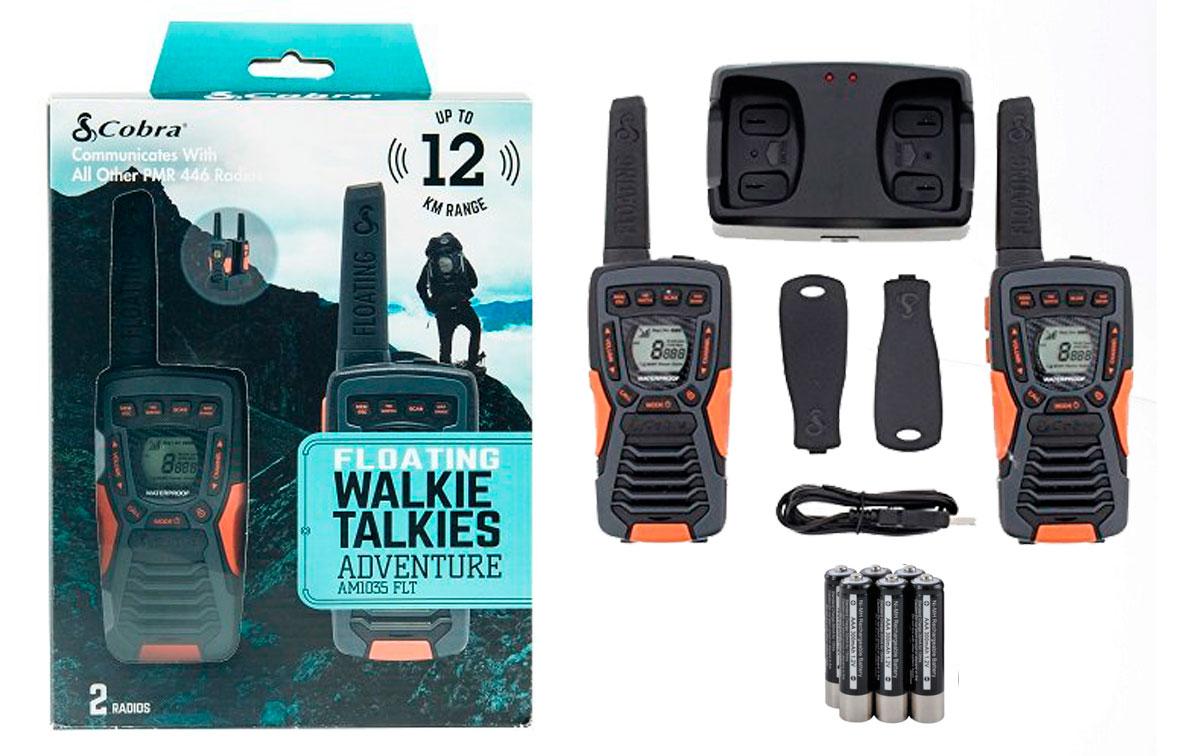 cobra am-1035 pareja walkies pmr color negro flota en el agua alcance 12 km