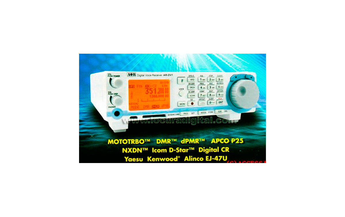 AOR- AR-DV1 Receptor de banda Ancha cubre 100 kHz - 1300 MHz.