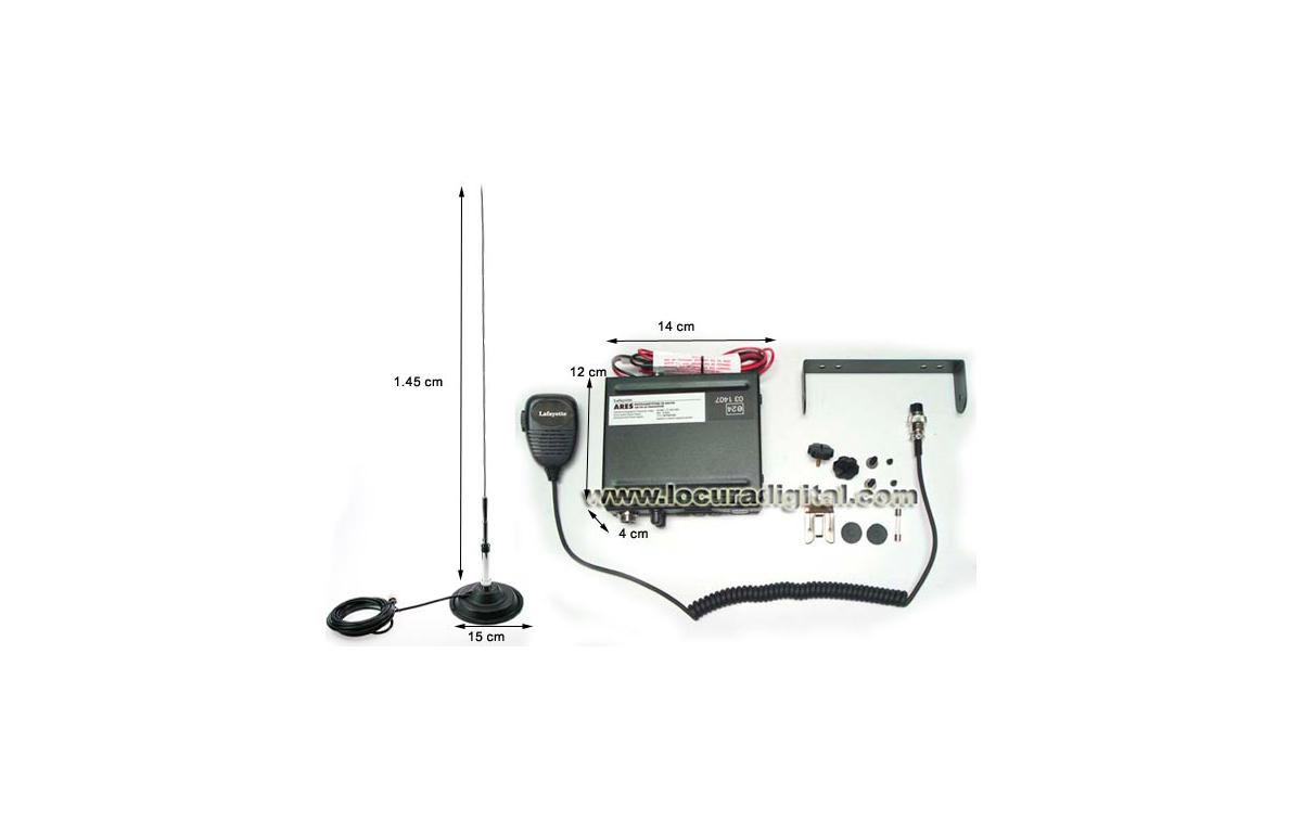 ARESBLACK. Emisora CB 27 Mhz marca LAFAYETTE modelo ARES BLACK. AM/FM 4 Watios. Color NEGRO.  + ANTE