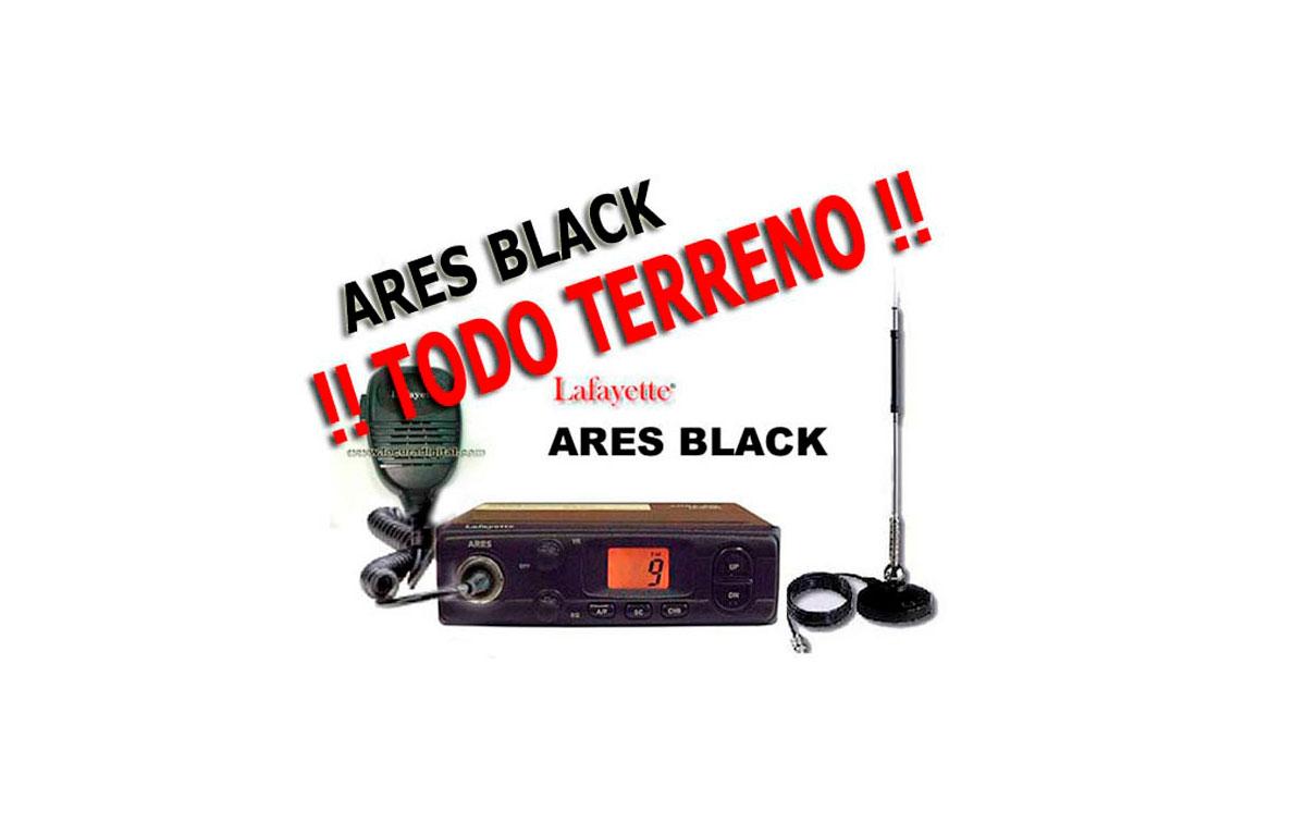 ARESBLACK KIT A. Emisora CB 27 Mhz LAFAYETTE ARES BLACK. AM/FM 4 Watios. Color NEGRO  + Antena magné