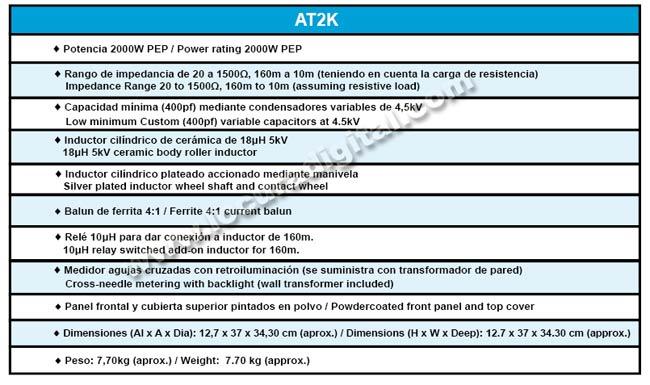 Palstar AT-2K Acoplador de Antena  con medidor. Potencia maxima  2000 Watios