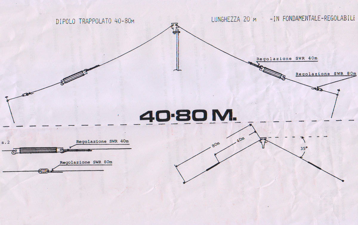LEMM AT4080 Antena Dipolo bandas 40 (7 Mhz.) - 80 metros (3,5 Mhz.)