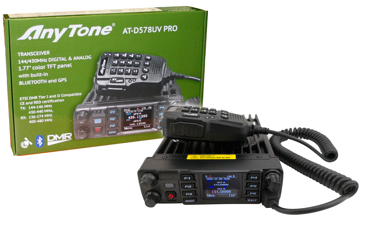 anytone atd-578uv-pro emisora analogica y digital dmr, doble banda 144/ 430 mhz con bluetooth, gps / aprs, full duplex