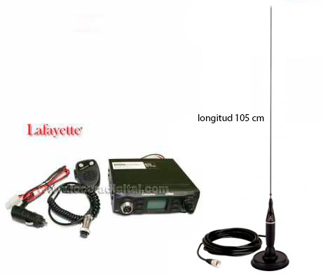 atena lafayette. emisora cb 27 mhz. am/fm 4 watios. color negro. emisora completa con conector de mechero antenas iman cobrahga 1500 c