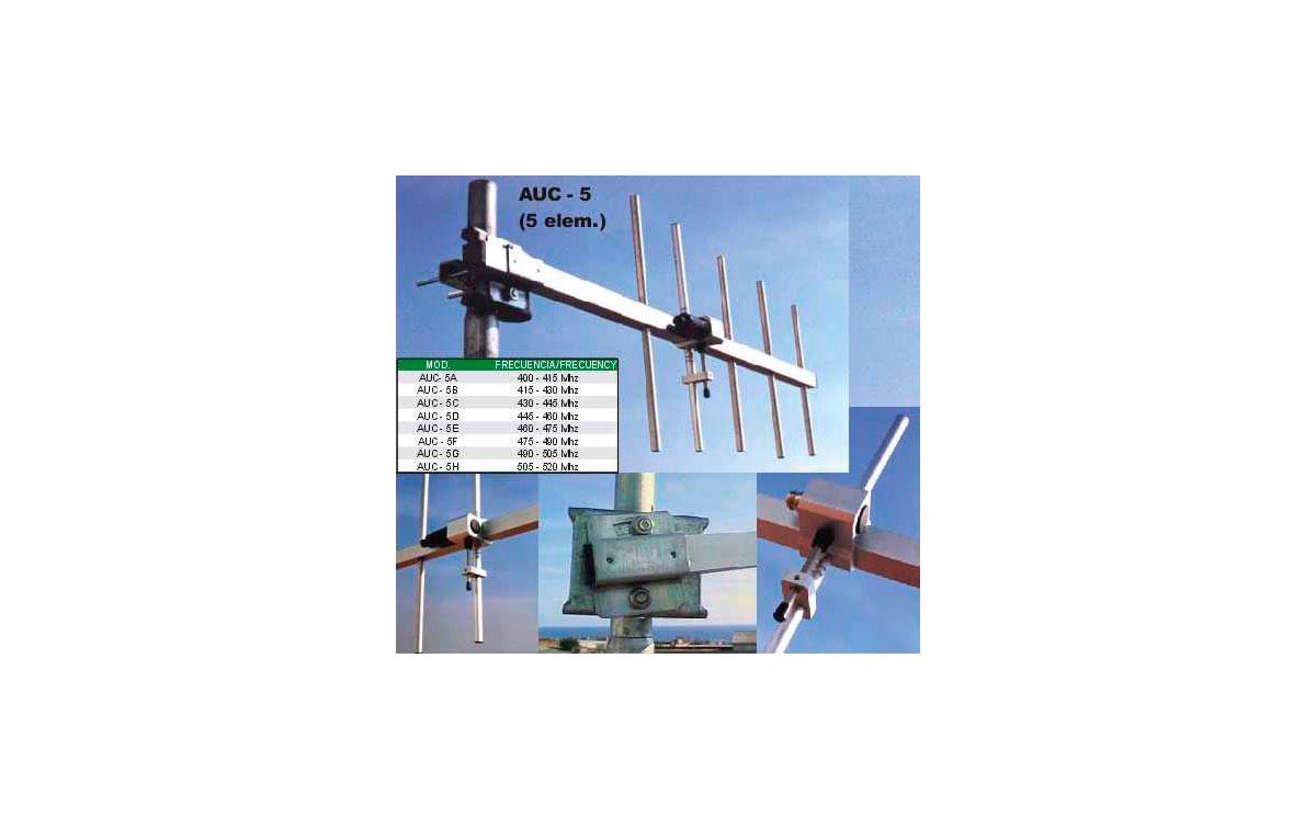 DX-AUC5A ANTENAS DIRECTIVA DE 5 ELEMENTOS UHF 400-415 MHZ
