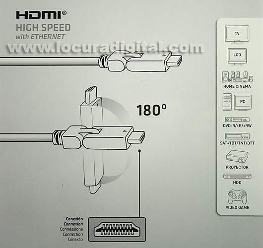 AV0738E AXIL Cable FULL HD HDMI alta velocidad, versión 1.4, articulable 1,5 mts.
