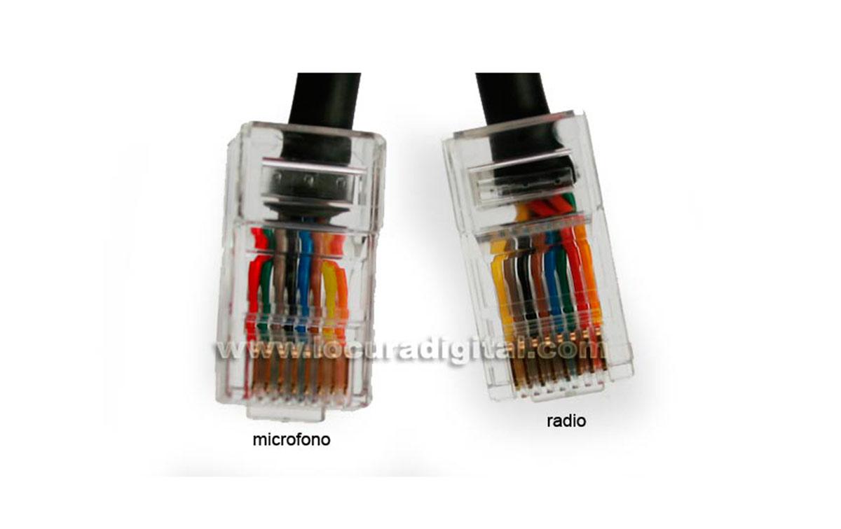 PWR73Y cable conexión YAESU tipo RJ45 para microfono AV-508