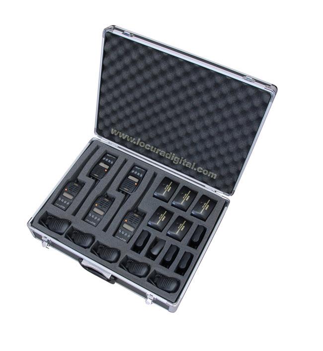 TLCASE05 LUTHOR Maleta de aluminio color negro  para 5 unidades walkies LUTHOR