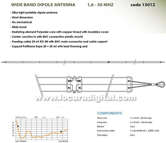 bantem- 13012 antena militar hf dipolo banda ancha 1,6 - 30 mhz