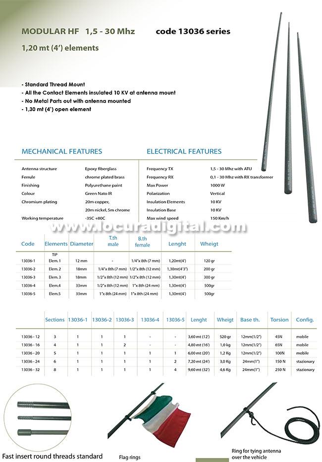 banten-1303612 antena modular militar hf 1,5 - 30 mhz. longitud total 3,60 mts.