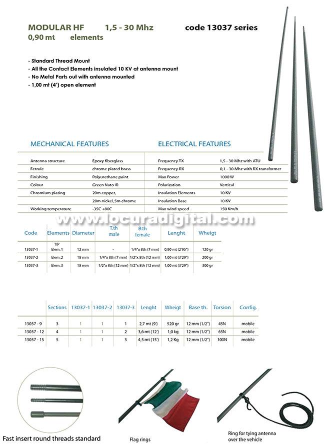 BANTEN-130379 Antena modular militar HF 1,5 - 30 mHz. Longitud total 2,7 mts.