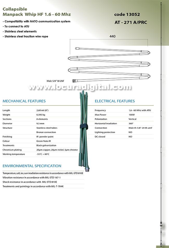 BANTEN-13053 Antena de Acero inoxidable plegable manpack militar banda ancha 1,6-60 Mhz. Longitud 2,6 mts.