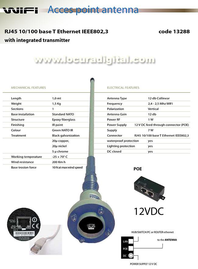 BANTEN-13288 Antena militar WIFI RJ45 10-100 BASE T- Ethernet IEEE802,3 para vehiculo frecuencia 2400- 2500 Mhz. Longitud 1 mts.
