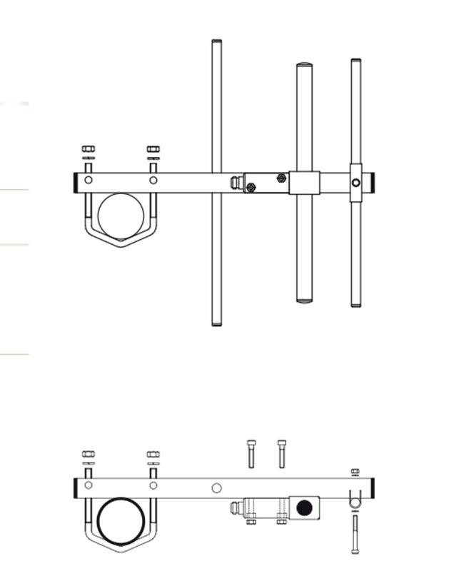 banten14054 banten yagui vhf 3 elementos 136 146 mhz.ganancia 7,15 dbi. fabricada en acero inoxidable