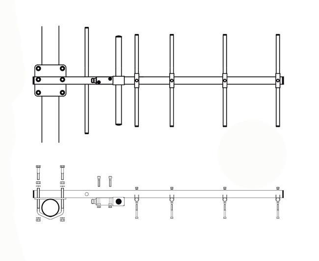 BANTEN14057 BANTEN YAGUI UHF 6 Elementos 385-470 Mhz ganancia 10 dBi. Fabricada en ACERO INOXIDABLE