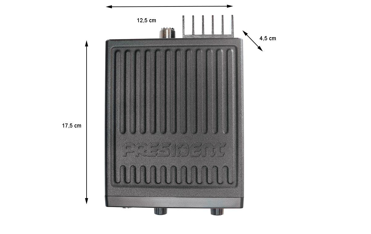 President BARRY Emisora CB puede funcionar con 12/24 voltios 40 canales AM/FM/, representa la solucion por excelencia para el mas exigente de CB.