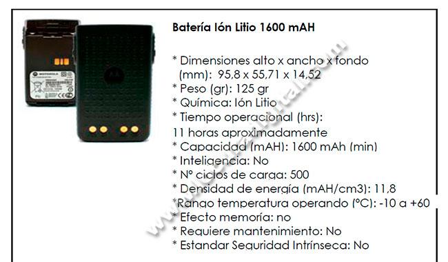 PMNN4440AR Motorola Bateria de Litio capacidad 1600 mAh.