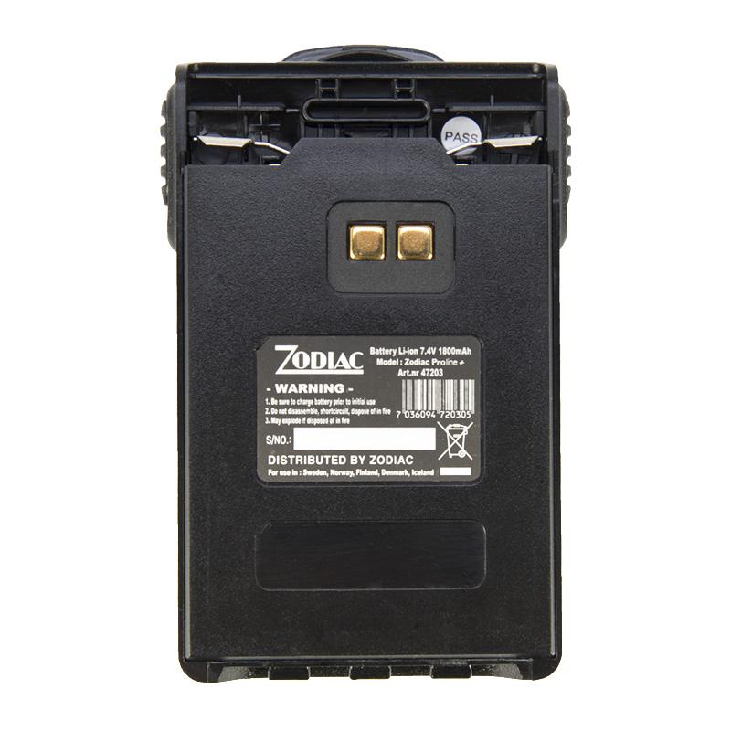 Z47203 ZODIAC Batería Li ion 7,4 volts. 1800 mAh. PROLINE+, TEAM PRO+, E TECH IRIS. Color Negro