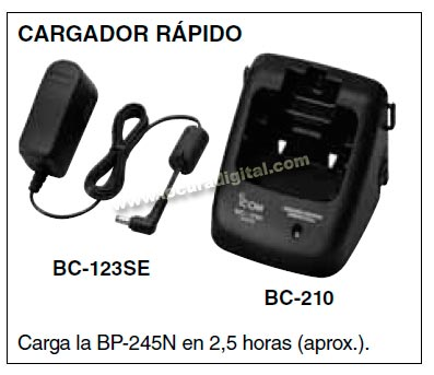 BC 210KIT01 Cargador + transformador para walkie IC M73 y bateria BP 245