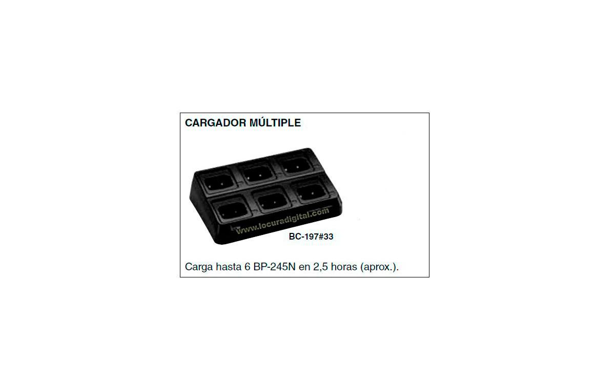 BC-197-33 Cargador  para 6 unidades para  walkie IC-M73 y bateria BP-245