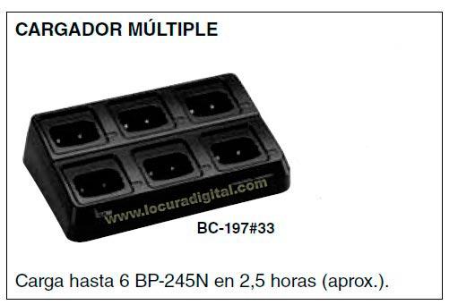 BC-210 Cargador para 6 unidades para walkie IC-M73 y bateria BP-245