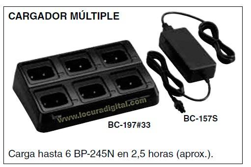 BC-197-33 KIT-01 Cargador para 6 unidades para walkie IC-M73 y bateria BP-245