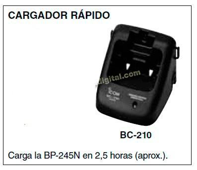 BC 210 Cargador para walkie IC M73 y bateria BP 245.