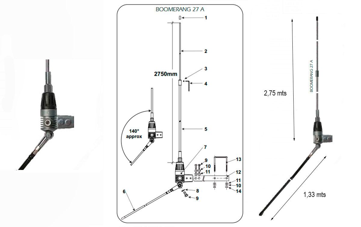 SIRIO BOOMERANG 27A. Antena balconera aluminio CB 27 Mhz. 2,75 metros