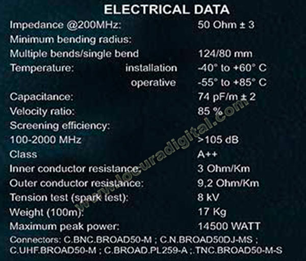 broadpro50 m&p broad pro50 cable coaxial alta calidad tipo profesional ( diametro10,3 mm: dimensión similares rg 213 u).