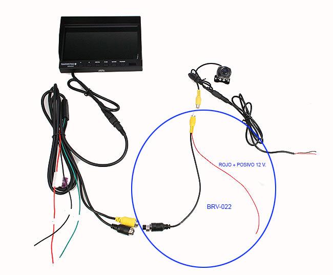 BRV022 BARRISTER Cable adaptación Conector 4 pins hembra a RCA Macho con alimentación para camaras grandes.
