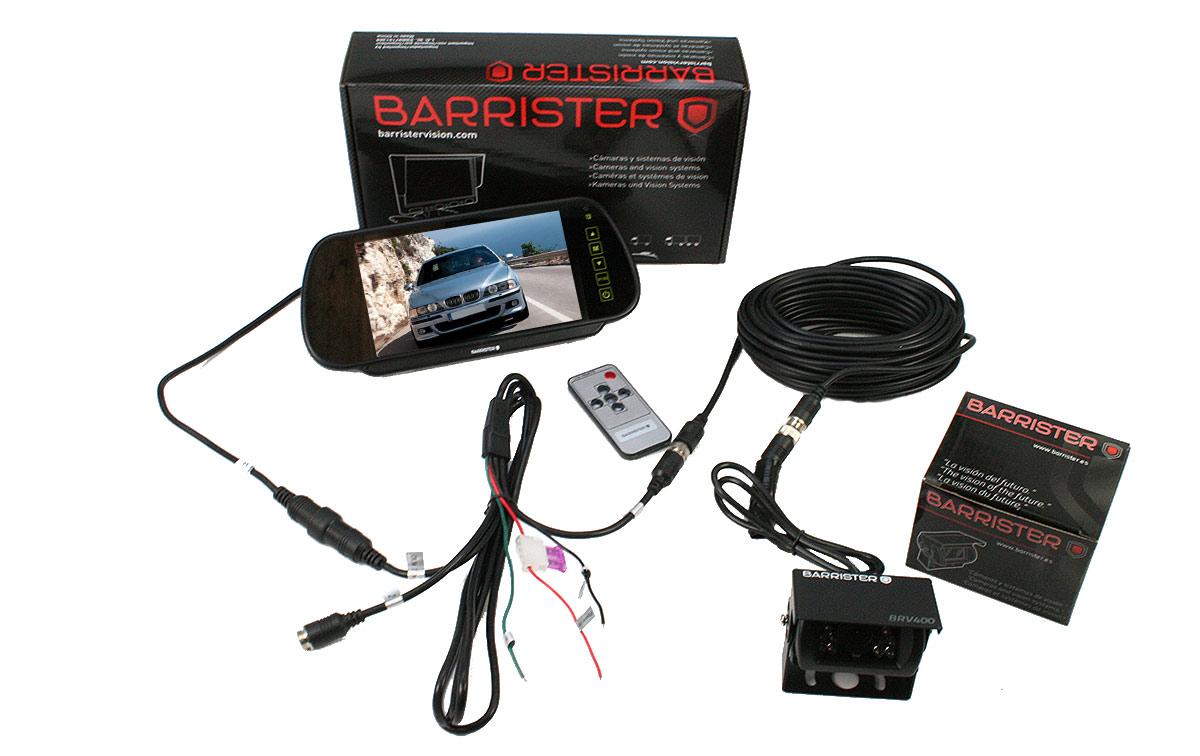 barrister brv-15 sistema retrovision monitor-retrovisor 7 pulgadas 1 cámara brv-400 10 metros cable alargador ca-10