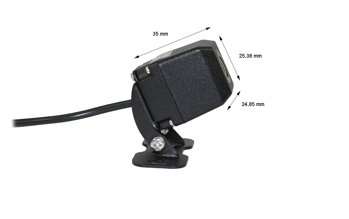 brv180 barrister cámara visión trasera miniatura cmos 12 v, camara pequeña con soporte articulado, no dispone de vision nocturna.